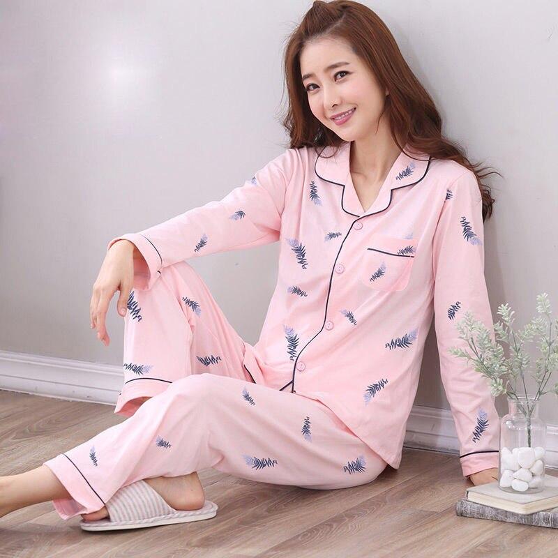 New Autumn Cotton Print   Pajama     Sets   for Women Long Sleeve Sleepwear Suit Nightwear Loungewear Homewear Pijama Mujer Home Clothes
