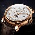 LOBINNI люксовый бренд автоматические механические часы мужские кожаные 50 м водонепроницаемые мужские часы со скелетом розовое золото сапфир ...