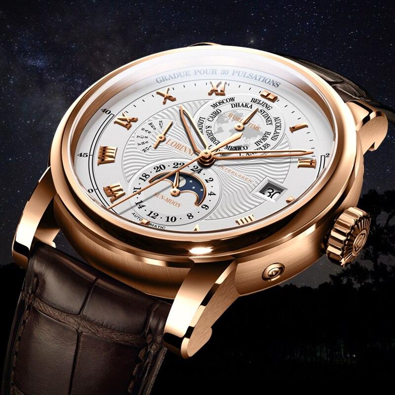 LOBINNI Luxe Merk Automatische Mechanische Horloges Man Lederen 50m Waterdicht Heren Skeleton Horloge Rose Gold Sapphire Montre Homme