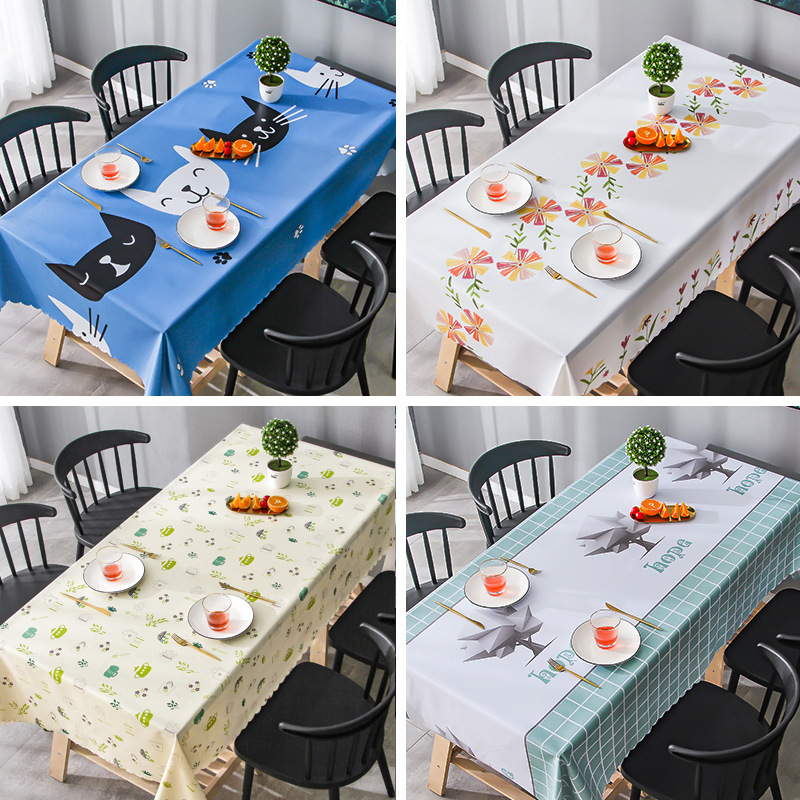 Plant Printed pvc Tablecloth Rectangular Waterproof Oil Proof Soft Table Cover Protector Picnic Mat Dinner Kitchen Decor|Tablecloths|   - AliExpress