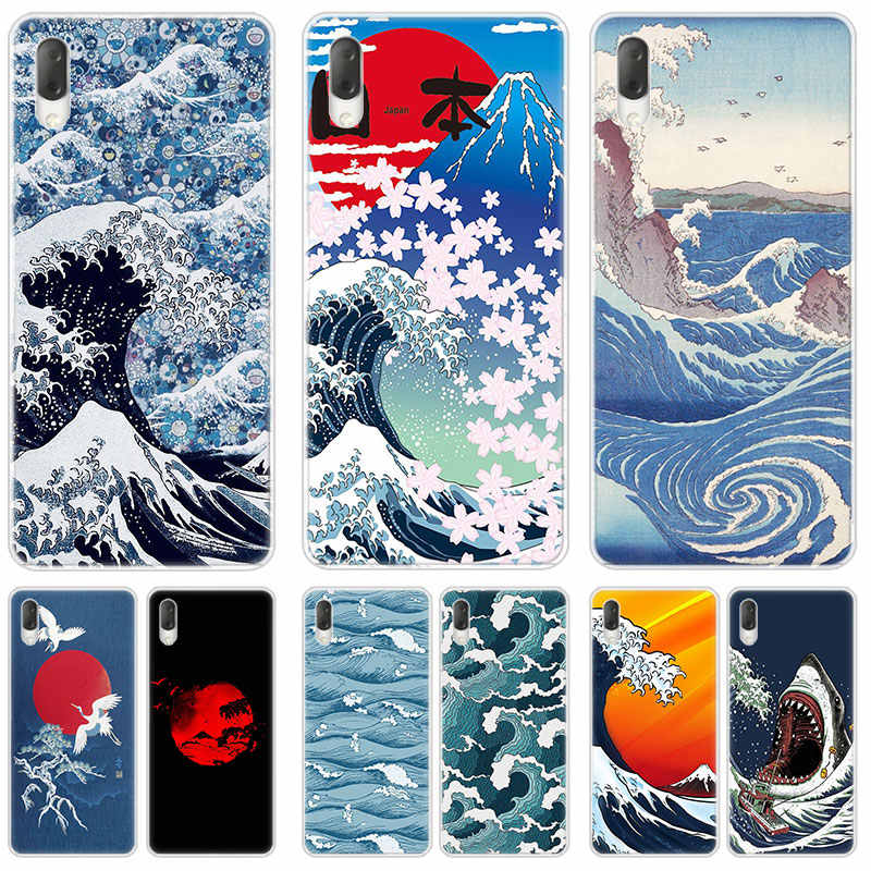 Japońska sztuka wielka fala skrzynka dla Sony Xperia L1 L2 L3 X XA XA1 XA2 Ultra E5 XZ XZ1 XZ2 kompaktowy XZ3 M4 Aqua Z3 Z5 Premium