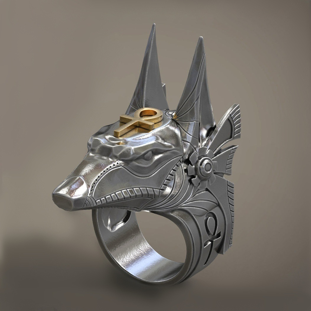 Vintage Stainless Steel Egypt Cross Anubis God Finger Rings for Men Women Punk Wolf Head Knuckle Ring Boho Statement Jewelry image