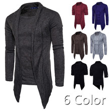 New Men Sweater Long Sleeve Men Clothes Fashion Patch Fake Two Pcs Sweatercoat Casual Hip Hop Solid Pullover