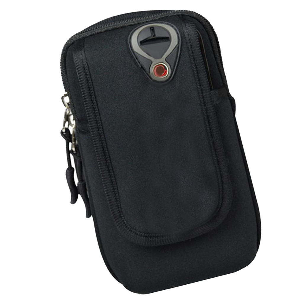 Outdoor Sports Breathable Arm Bag Lightweight Running Armband Phone Pouch Multi Pockets Gym Keys Holder Equipment Unisex Black