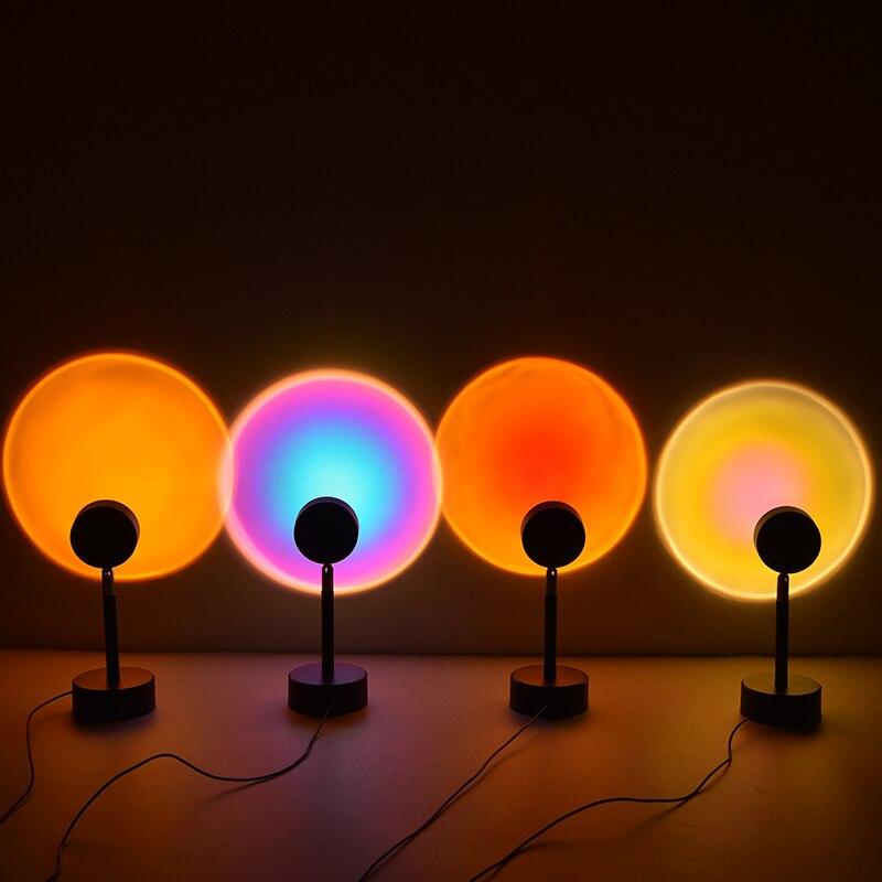 Led Night Light Lamp USB Rainbow Projector Sunset Nightlights Coffee Shop Bar Decoration Lamp Bedroom Atmosphere Lamp Gift