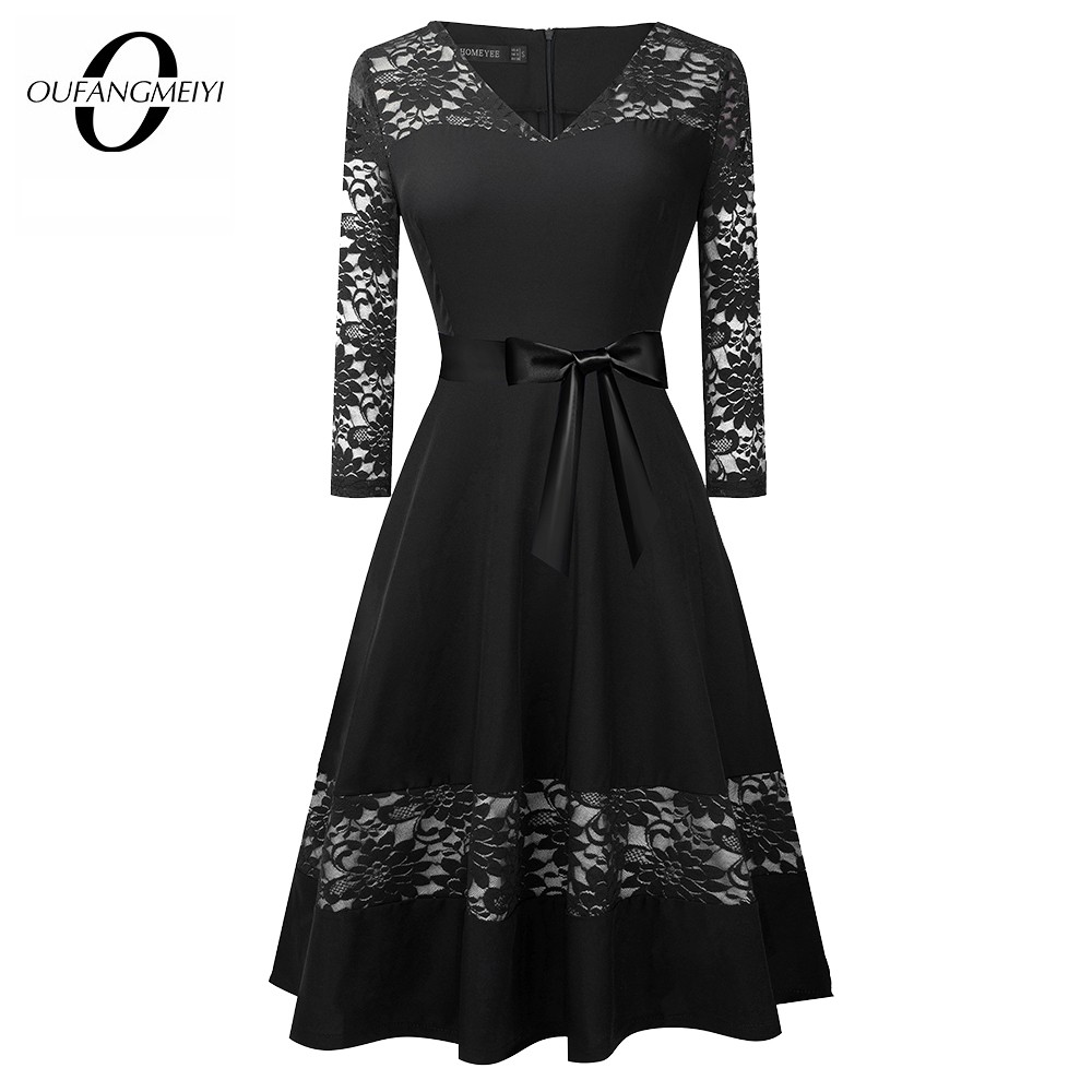 Women Retro Lace Patchwork Vintage Autumn Elegant Bow Christmas Party A Line Dress EA