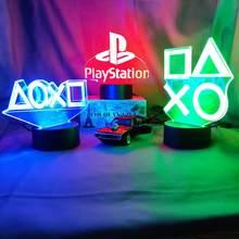 Sala de jogos mesa configuração iluminação decoração 3d visual led noite lâmpada na mesa console do jogo controlador ps ícones luz presente para crianças