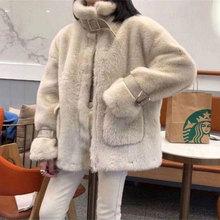 Faux Fur Coat Women 2021 Thick Winter Casual Jacket  Rabbit Fur Coats Warm Furry Loose Outwear Ladies Trendy Parka
