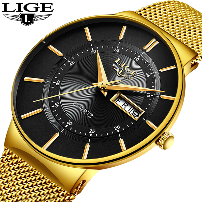 Relogio Masculino 2020 LIGE New Mens Watches Top Brand Luxury Ultra Thin Quartz Watch Men Steel Mesh Strap Waterproof Gold Watch