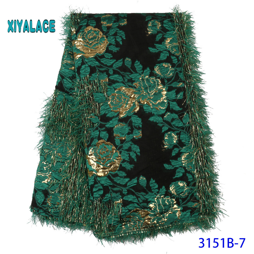 Green Brocade Lace Fabric French Embroidery Tulle Net Nigerian Brocade Lace Fabric For African Wedding Party Women YA3151B-7