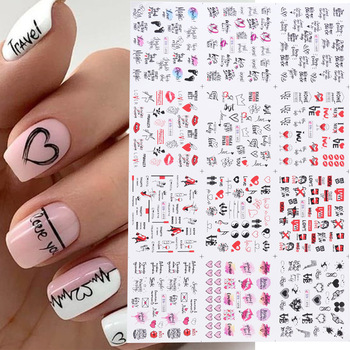 12pcs Valentines Manicure Love Letter Flower Sliders for Nails Inscriptions Nail Art Decoration Water Sticker Tips GLBN1489-1500 1