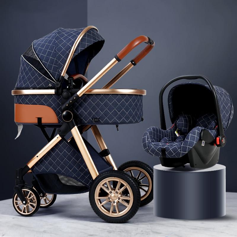 Luxe bébé poussette 3 en 1 haute paysage bébé chariot peut s'asseoir peut mentir Portable poussette bébé berce porte-bébé livraison gratuite