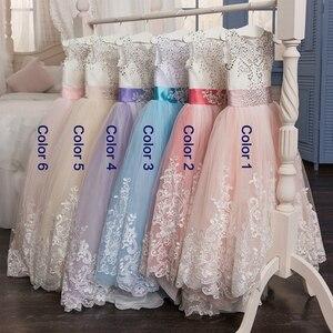 Image 5 - אלגנטי פרח ילדה שמלות 2020 סגול אפליקציות שרוולים ילדים נסיכת לחתונות ראשית הקודש שמלות תחרות שמלות