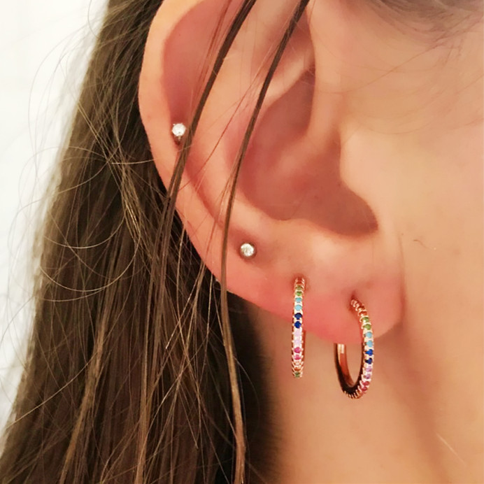2019 New Stud micro pave cz circle Earrings With Blue Red Stone mix Rainbow CZ Rose gold Stud Earring girl earring women jewelry(China)