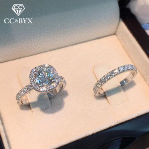 CC Sets Rings For Women Couple Cubic Zirconia Square Ring Lovers Jewelry Bridal Wedding Engagement Romantic Luxury Bague CC2384
