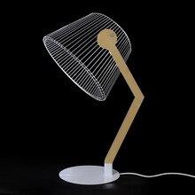 HZFCEW Lámpara LED de escritorio con visión estéreo, lámpara de escritorio con efecto 3D, alimentación USB, soporte de madera, pantalla acrílica, luz LED para oficina, dormitorio, lámpara de lectura