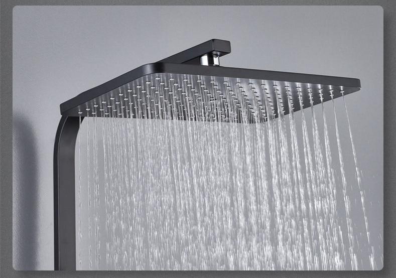 H0030734bf3b24fb88727ab15de3bb808i Digital Shower Set Luxury Black Gold Thermostatic Shower System Rainfall Spa Shower Head Brass Bathtub Faucet Digital Shower Set