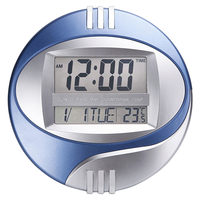 Number Display LED Electronic Wall Clock Snooze Table Clock Mute Bracket Clock Round LCD with Calendar Temperature|Wall Clocks| |  - title=