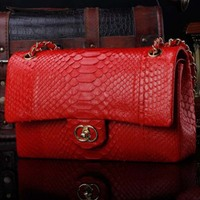 ourui Python skin Small square bag lady's chain bag with cover women bag
