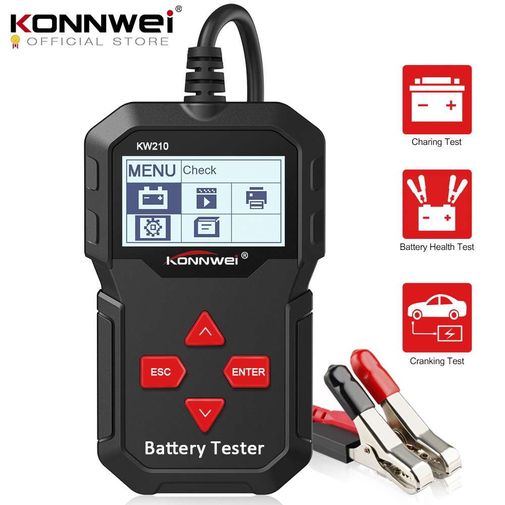KONNWEI KW210 automatic smart 12V Car Battery Tester Auto Battery Analyzer 100 to 2000CCA Cranking Car Battery-Tester