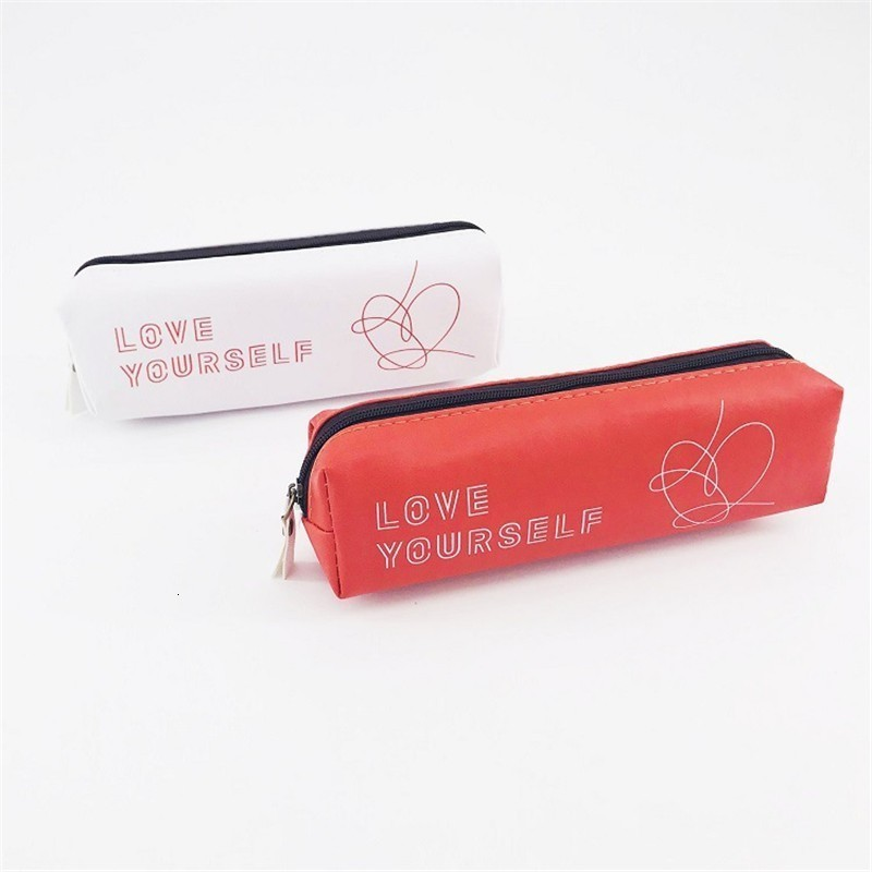 New Kpop Bangtan Boys Album Love Yourself Pencil Case PU Stationery Bag Pencilcase Cute Pencil Box K-pop