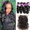 Loose Wave Brazilian Hair Weave Bundles Human Hair Bundles 3/4PCS/lot Remy Hair Extensions Natural Black&Jet Black 100g/piece