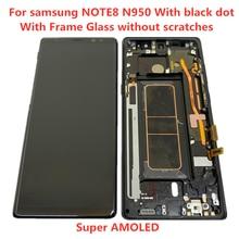 Oryginalny AMOLED z ramką do Samsung Galaxy NOTE 8 LCD N950U N950F wyświetlacz z ekranem dotykowym montaż z czarnymi kropkami lub z linią