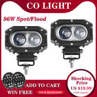 CO luz 4 96 W súper brillante todo terreno Barra de luz LED de obra haz de inundación DRL 4x4 LED luz ATV barra LED para Jeep 4WD camión coche SUV