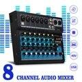 8-канальная звуковая консоль-миксер CLAITE  48 В  цифровой микрофон  Bluetooth  мощный профессиональный усилитель-миксер для караоке