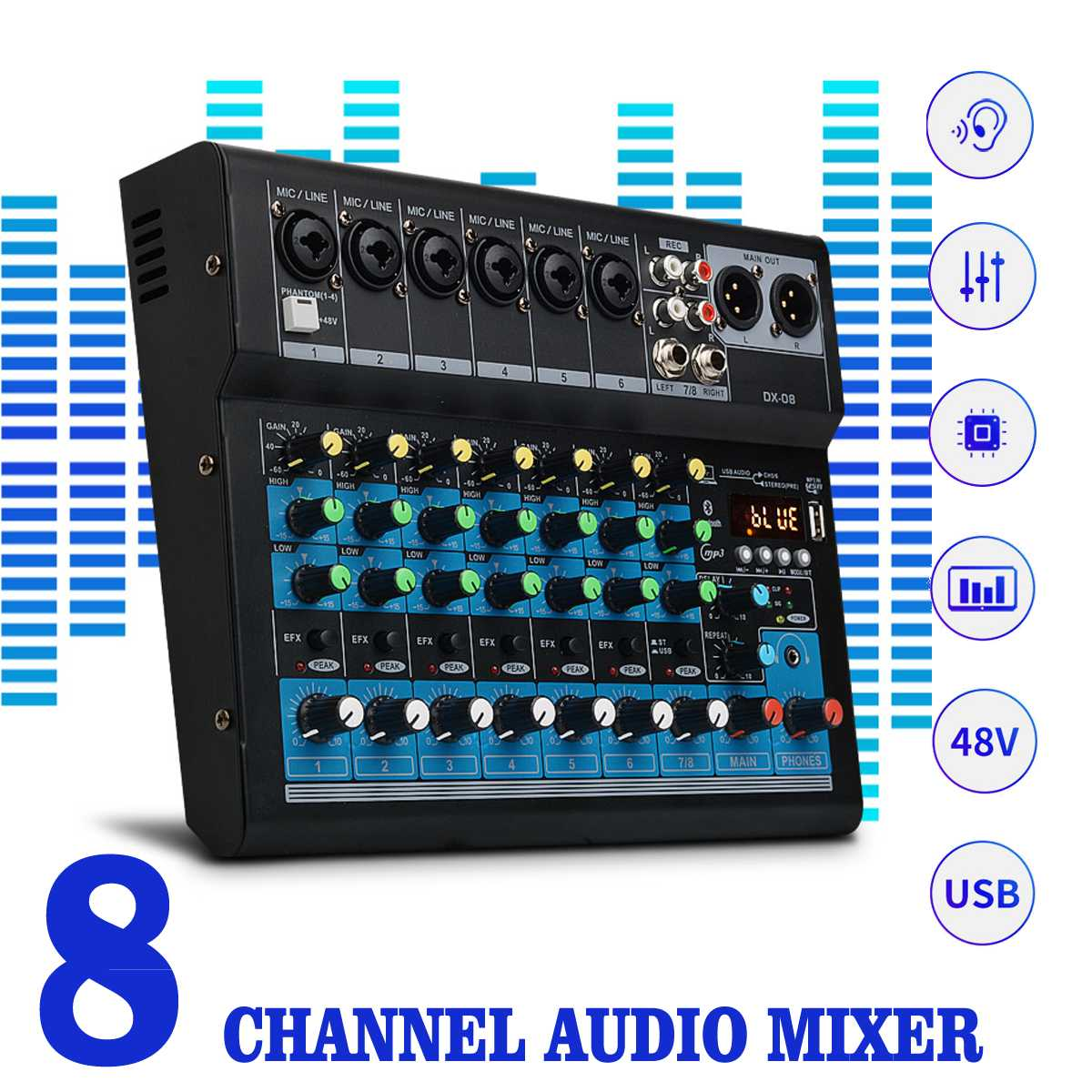 CLAITE 8 Channel Sound Mixer Console 48V Digital Microphone Bluetooth  Powerful Professional Karaoke Audio Mixer Amplifier