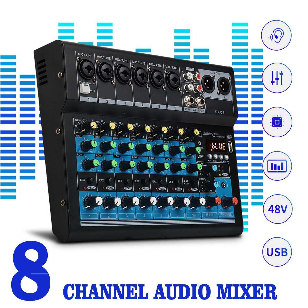 CLAITE 8 Kanal Sound-Mixer Konsole 48V Digitale Mikrofon Bluetooth Leistungsstarke Professionelle Karaoke Audio Mixer Verstärker