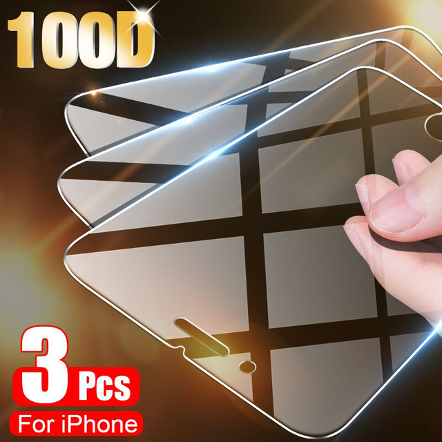 3PCS Full Cover Protective Glass On For iPhone 11 Pro X XR XS Max Screen Protector On iPhone 7 8 6 6s Plus 5 5s SE 11 12 Glass