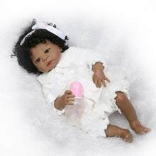 Reborn Baby Dolls African American Girls Silicone Full Body Black Girl Lifelike Realistic Cute Doll Anatomically Correct Toddler(China)