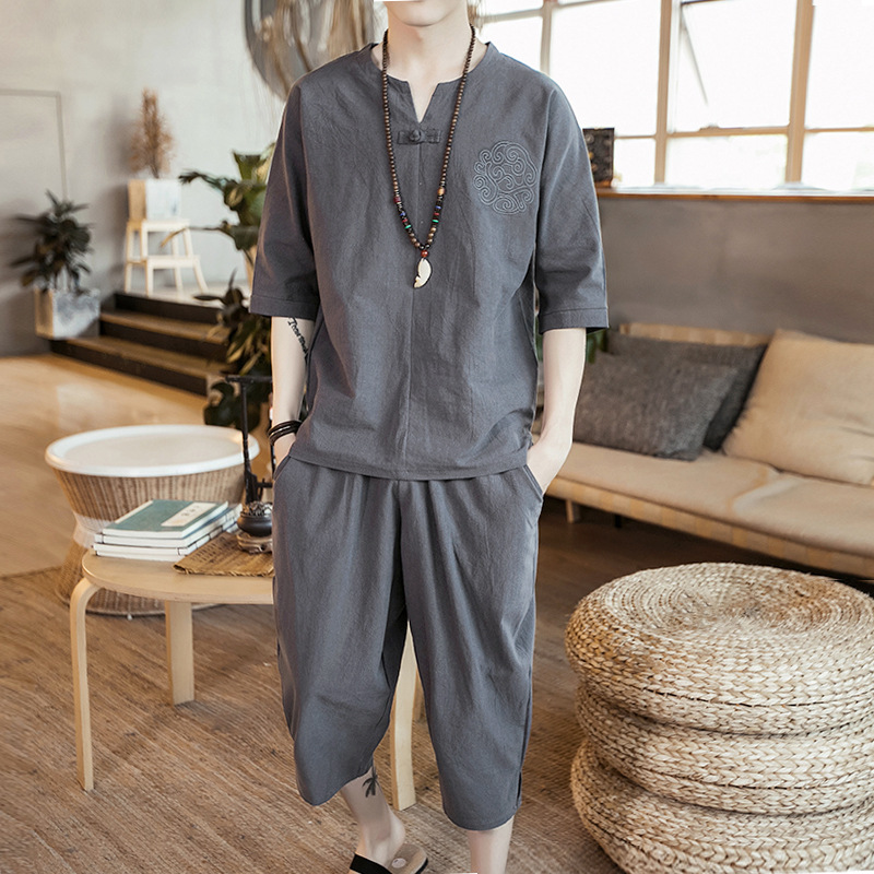 Ancient Costume Flax Chinese-style Short Sleeve Set Improved Chinese Clothing Men's Retro Xian Qi Chinese Costume Chinese Style