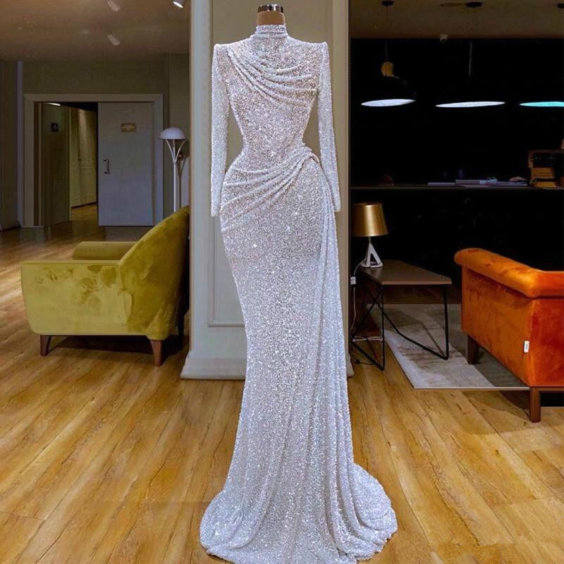Glitter Mermaid Evening Dresses High Collar Sequins Long Sleeve Sweep Train Formal Party Gowns Custom Made Long Prom Dress