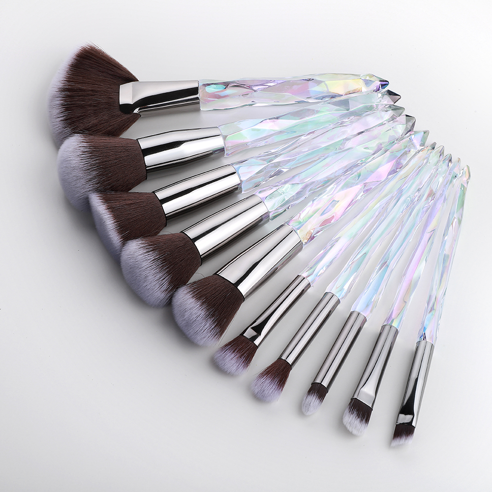 FLD 10Pcs Crystal Makeup Brushes Set Powder Foundation Fan Brush Eye Shadow Eyebrow Professional Blush Makeup Brush Tools
