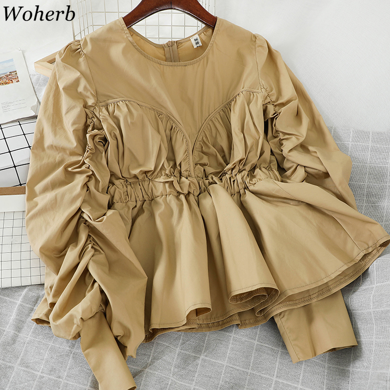 Woherb O Neck Long Sleeve Shirts Solid Color Pleated Loose Tops Slim Waist Vintage Fashion Blouses Women Blusas Mujer 91692