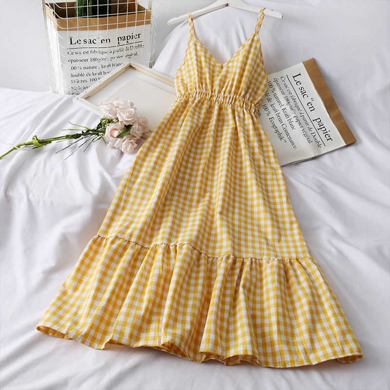 Woherb Sweet Plaid Dress Women Sexy Spaghetti Strap Vintage Dresses Female Korean Chic Fashion Sleeveless Casual Summer Vestidos 2