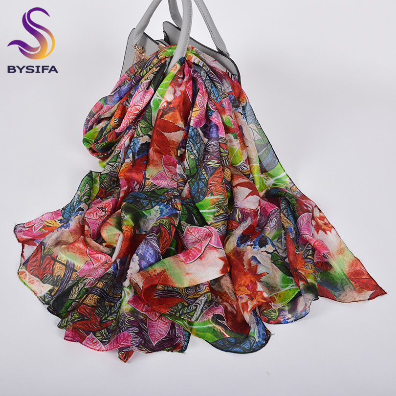 [BYSIFA] Luxury Pure Silk Long Scarf Shawl Female New Red Green Spring Fall Neck Scarf Cape Fashion Accessories Women Scarves