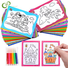 20Pcs DIY Double-sided Coloring Cards Painting Toys for Children Drawing Toys Art Early Educational Toys For Kids 9*13cm GYH