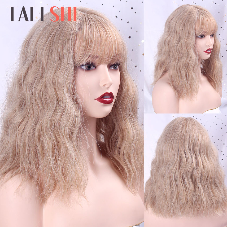Blonde Mixed Color Short Wavy Synthetic Hair With Bangs Bob Wig For African American Women Daily False Hair Pink Cosplay