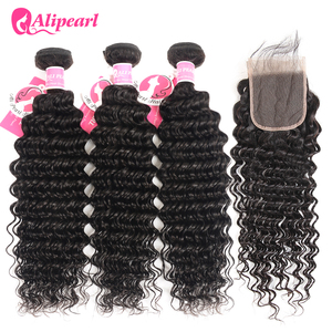 AliPearl Hair Deep Wave Bundles With Transparent Lace Closure Brazilian Human Hair 3 Bundles With Closure Remy Hair Extension(China)