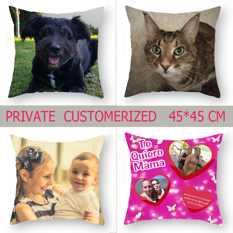 Fuwatacchi Private Cushion Cover 45cm*45cm Personal Customize Life Photo Customization Decoration Throw Pillow Covers Pillowcase