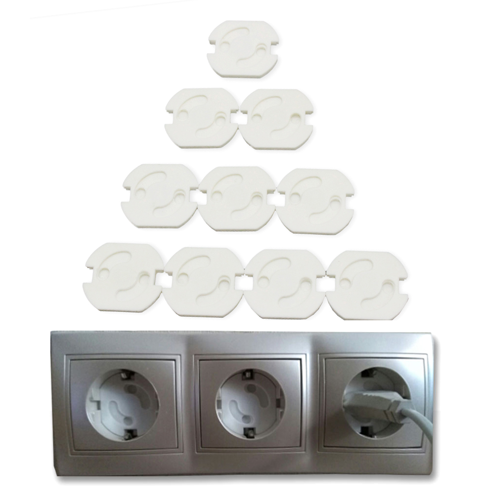 10 Pcs/Lot EU Power Electrical Outlets Protection From Children Rotate Cover Plugs For Sockets Protection Baby Plug Protector
