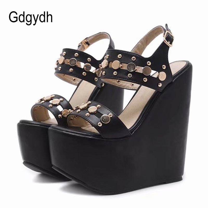 Gdgydh Height 17cm Ultra High Heels Gladiator Sandals Women Sexy Rivets Punk Style Platform Wedges Shoes For Party With Buckle