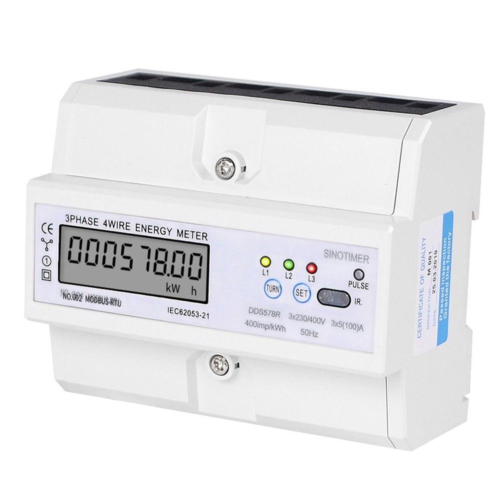 SINOTIMER RS485 Modbus Rtu DIN Rail 3 phases 4 fils LCD wattmètre numérique consommation d'énergie électronique compteur d'énergie 380V