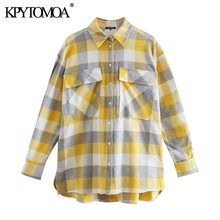 بلوزات غير متماثلة أنيقة للنساء 2021 من KPYTOMOA ذات أكمام طويلة وجيوب بفتحات جانبية قمصان نسائية أنيقة