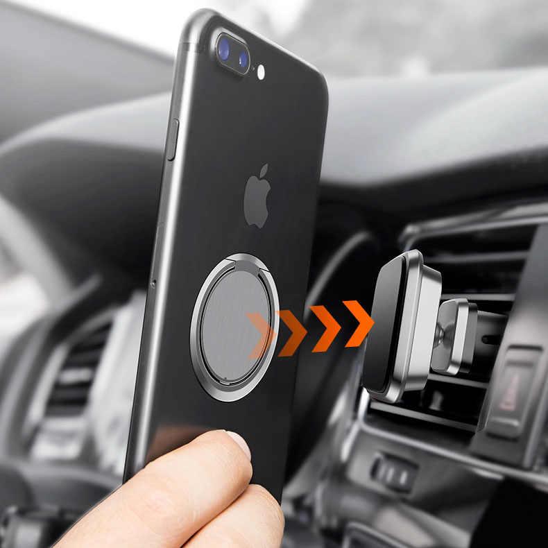Soporte de toma de corriente para teléfono móvil de Metal de lujo extremadamente delgado soporte de coche magnético Universal accesorios de dedo anillo