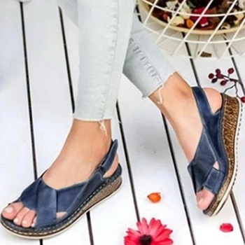 цена на WENYUJH Women Sandals Summer 2020 Female Shoes Woman Peep-toe Wedge Comfortable Sandals Slip-on Wedge Sandals Female Sandalias
