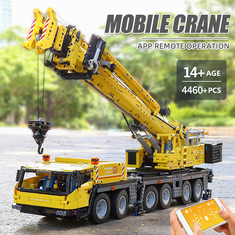 MOULD KING 17013H The APP RC Motorized Yellow GMK Crane Assembly Kits